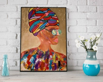 Colorful Painting of Women ,Original Art Canvas painting, Woman Wall Art,Painting Gifts, Figurative Painting,Eclectic Wall Art, Gallery Wall
