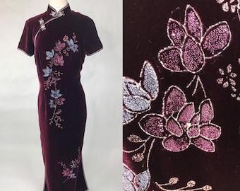 347fb2ab0 Vintage 80s Burgundy Red Velvet Oriental Dress Vintage Red Asian High Slit  Gown Dress Vintage 80s Velvet Prom Dress Velvet Sheer Top