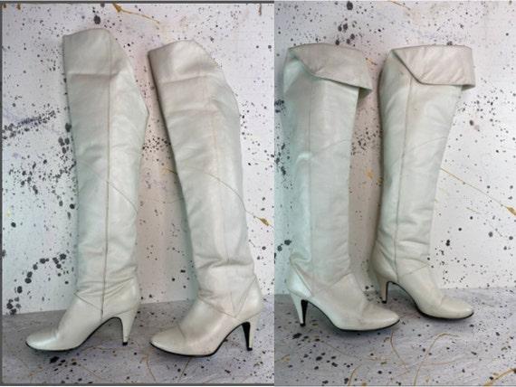 Vintage 80s 9 West White Leather Knee High Stilett