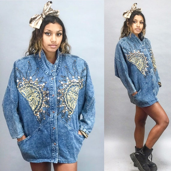 Vintage 90s Denim Jean Jacket Jeweled Studded Detail Bat Wing Sleeve Saved by the Bell 90s Button up Acid Wash Jean Jacket