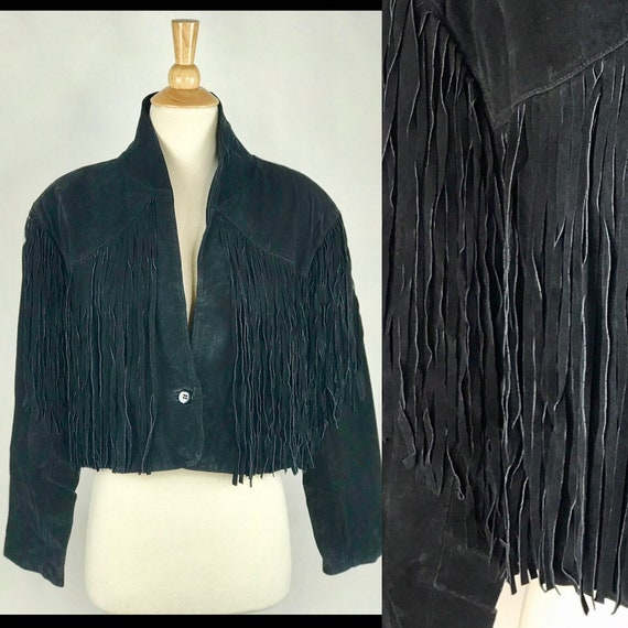 Vintage 80s Black Leather Fringe Motorcycle Jacket