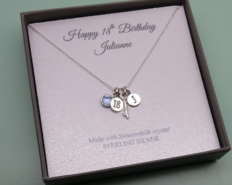 18th Birthday Sterling Silver Message Pendant Necklace