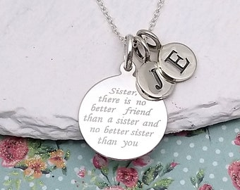 064e853f91 Sister Sterling Silver Message Necklace | Sister Quote Jewellery |  Personalised Silver Sister Necklace | Initial Necklace | 925 Silver