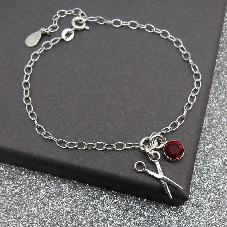 925 Gift For Hair Stylist Hairdresser Birthstone Scissors Jewellery Personalised Sterling Silver Scissors Bracelet