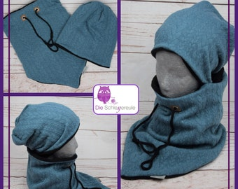 """Winter set """"Strickzopf petrol"""" 