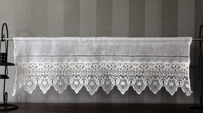 Bistrogardine linen with wide lace country house Shabby Chic Vintage 30 long high to measure possible