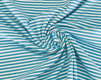 Jersey RINGEL (3 mm) Turquoise-White (Swafing)