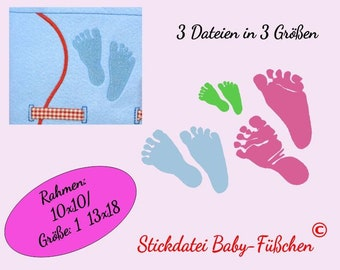 3 Embroidery files: Baby-feet