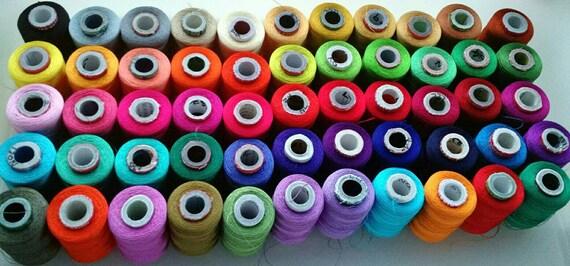 Machine à fil de soie - 50 bobines 500 - broderie d'alimentation - 500 bobines verges/Spool - soyeux couleurs de broderie - Art soie - Get BONUS 2 bobines 6b13e0