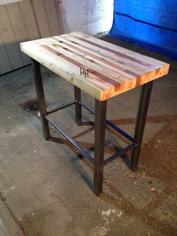 Redwood And Reclaimed Lumber Butcher Block Kitchen Island Etsy