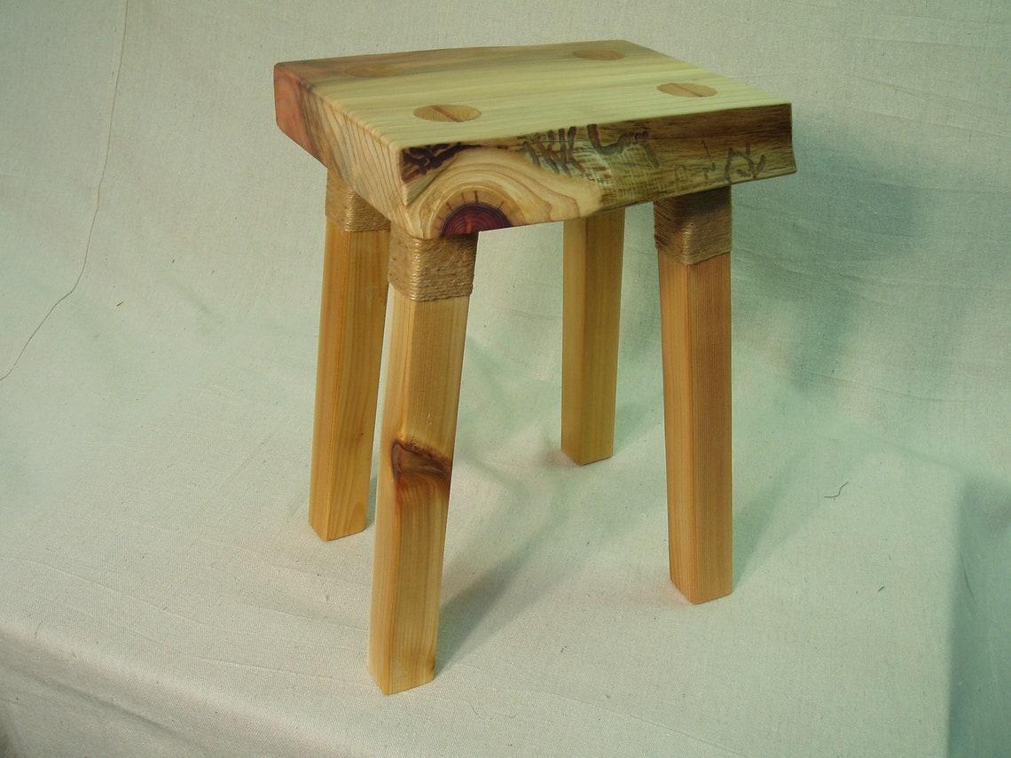 Live edge redwood slab foot stool