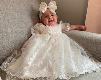 formal infant dress Dedication dress Christening Gown Infant baptism dress Baptism Dress Blessing dress party dress white baby dress