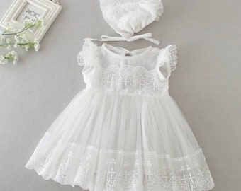 Tutu Floral Lace Christening Dress Infant Baby Girls Birthday Party Baptism Gown
