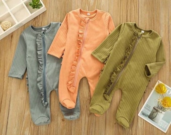 Jacinth Zipper Footie, 0-3 Months Newborn Infant Baby Girl Ribbed Footie Footed Pajamas Sleeper Ruffle Romper Jumpsuit Coming Home Outfits Clothes