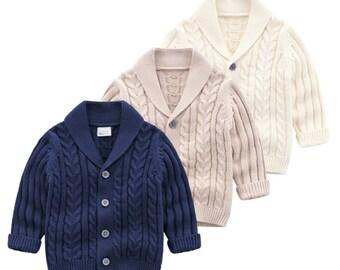 Babys Boys Spanish Knitted Duffle Style Cardigans Blue Grey