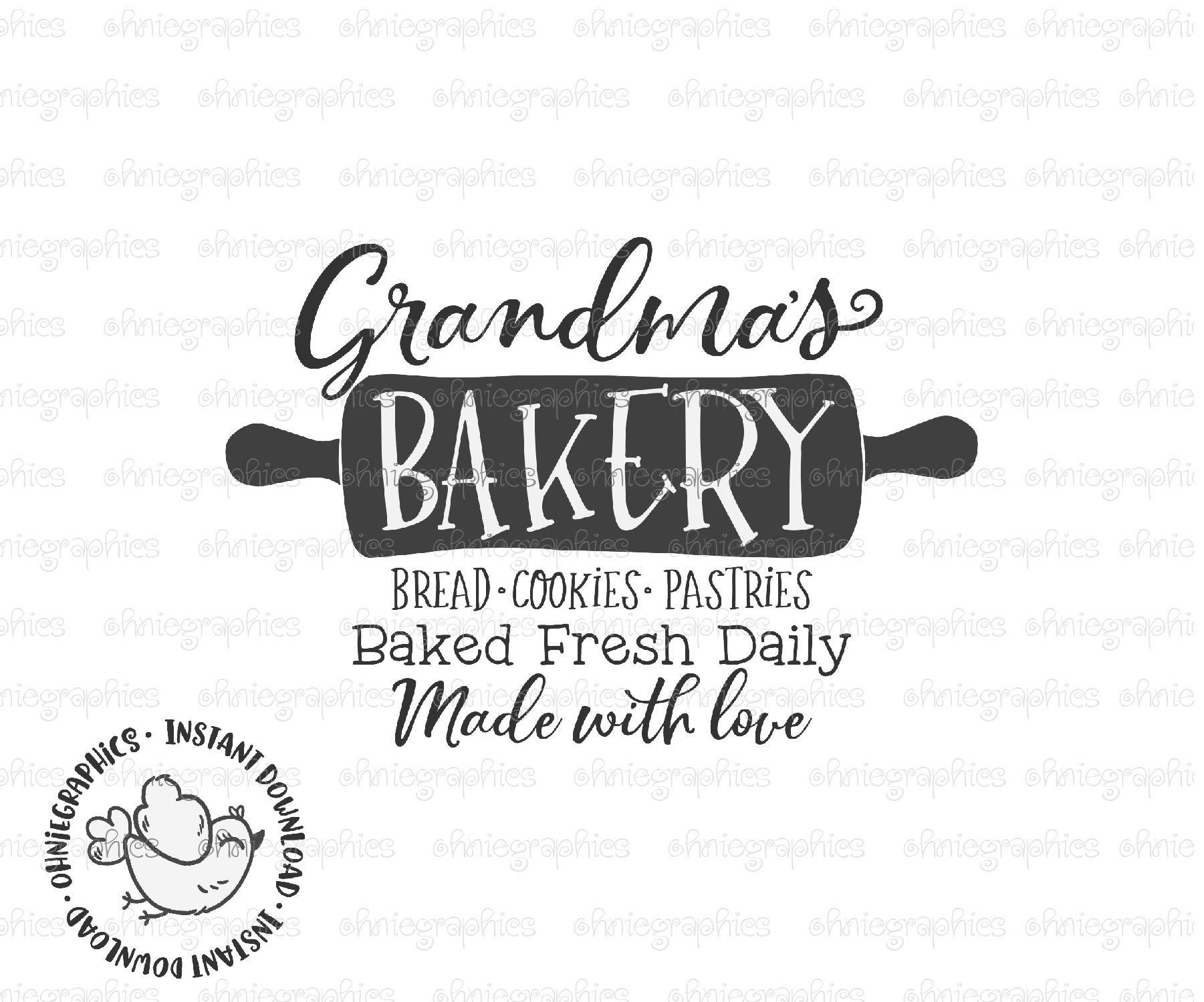 Grandmas Bakery Svg Nana Kitchen Printable Cute Country Etsy