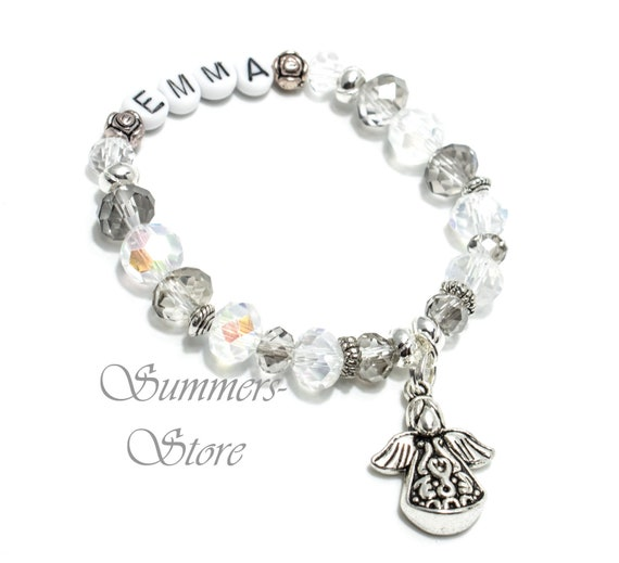 Bracelet with names, girls, communion, schooling, 1st day of school, with  guardian angel pendant, white-silver