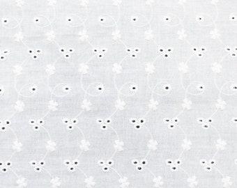 0,5m Voile Weiß Baumwolle Seide Batist durchscheinend Nadelstreifen Meterware