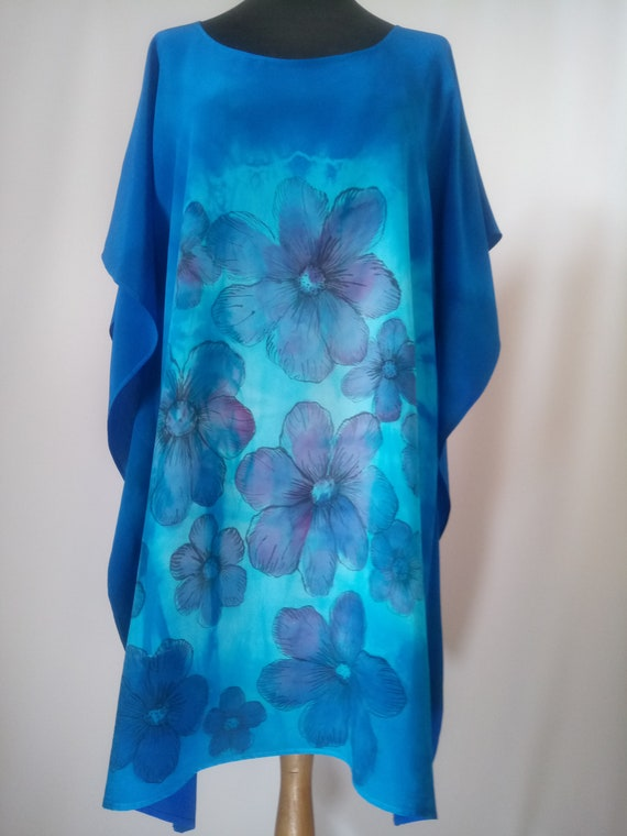 Beach summer dress. Hand dyed caftan Hand painted silk kaftan dress Turquoise /& light jade pure silk tunic top Swimsuit cover up
