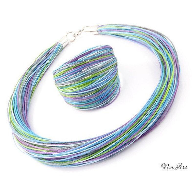 Linen set minimalist gift linen bracelet linen necklace simple jewelry vegan jewelry bohemian jewelry boho norart women/'s jewelry