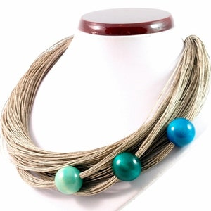 with wood beads norart linen bracelet women/'s jewelry linen jewelry summer jewelry trendy jewelry boho linen necklace linen set
