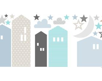 Häuser Wandtattoo, Aufkleber Wand Kinderzimmer, Häuser Blau Grau,  Wandaufkleber, Wandtattoo, Wall Decal, Kinderzimmer Wandgestaltung
