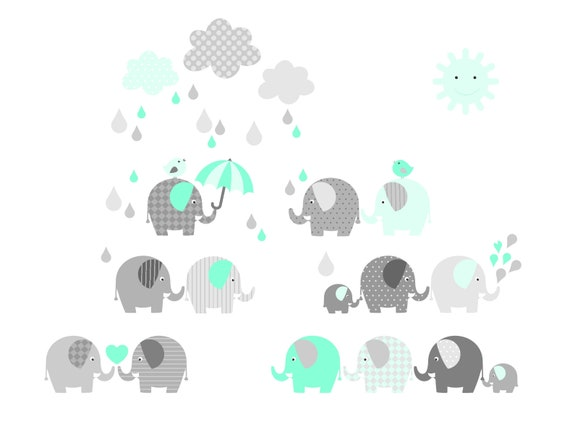 Elephant Wall Decals Mint Plus Sticker Wand Baby Room Etsy