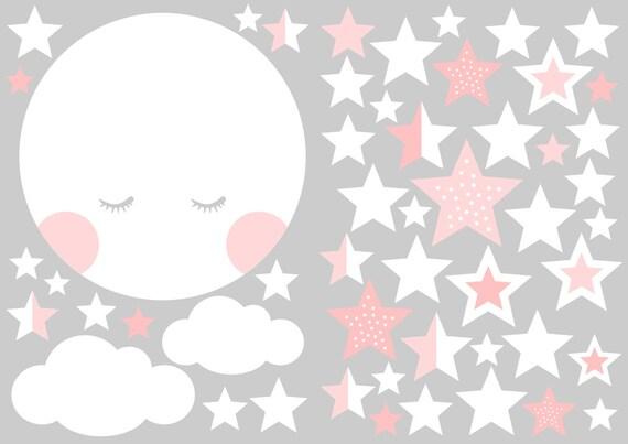 Mond Und Sterne Wandtattoo Aufkleber Wand Babyzimmer Mond Etsy