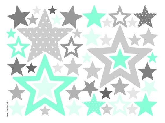 Sterne Wandtattoo Aufkleber Wand Babyzimmer Sterne Grau Mint Etsy