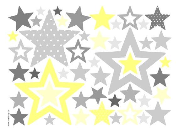 Sterne Wandtattoo Aufkleber Wand Babyzimmer Sterne Grau Gelb Etsy