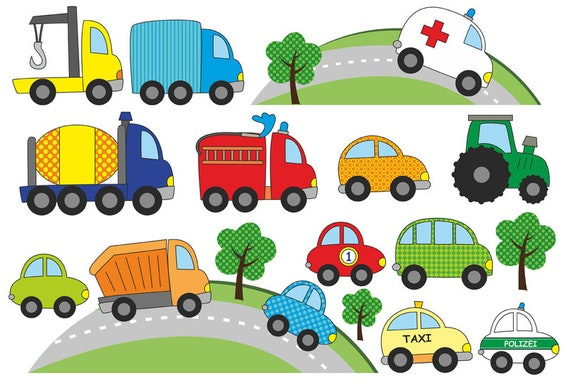Auto Wandtattoo, Aufkleber Wand Kinderzimmer Auto, Autos Wand Sticker,  Wandaufkleber, Wandtattoo, Wall decal, Polizei, Feuerwehr, Jabalou