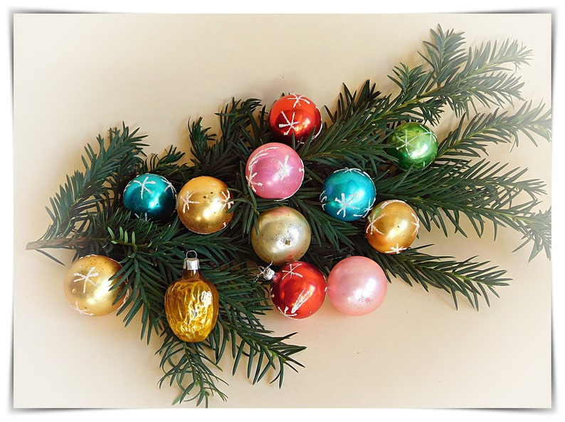 Mini Christmas Tree Ornaments.12 Small Old Christmas Tree Balls Tree Ornaments