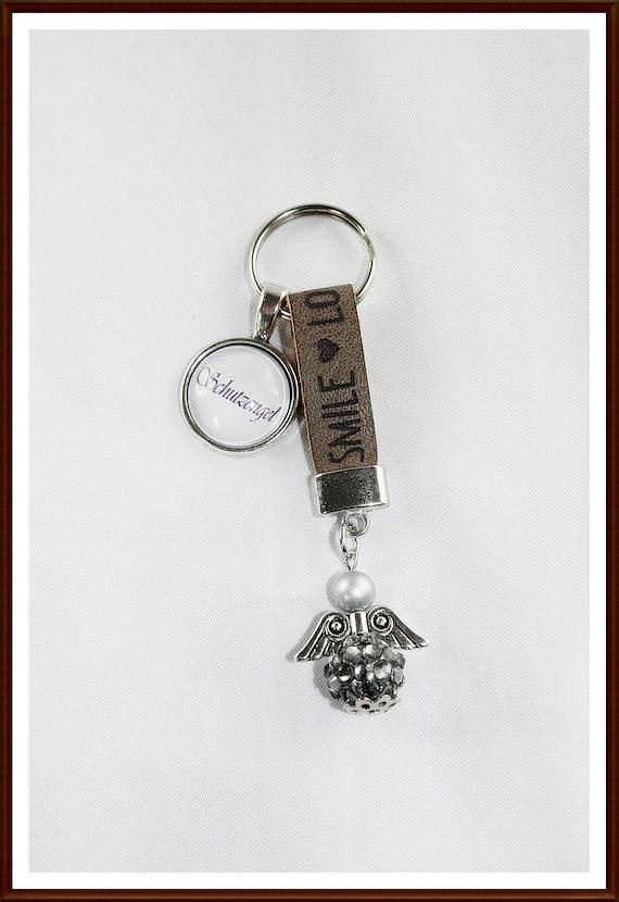Schlüsselanhänger Engelsflügel Edelstahl VINTAGE Keychain Leder
