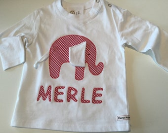 Name shirt elephant red with Wackelohr - a great gift for birth or baptism