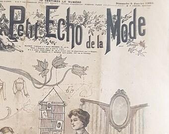 1902 Original Le Petit Echo de la Mode Shabby Newspaper