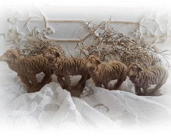 4 Antique brocante sheep lamb sheep lambs mass blanks sheeps