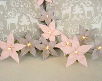 Lichterkette Rose Grau Dekoration Taufe Geschenk Zur Geburt