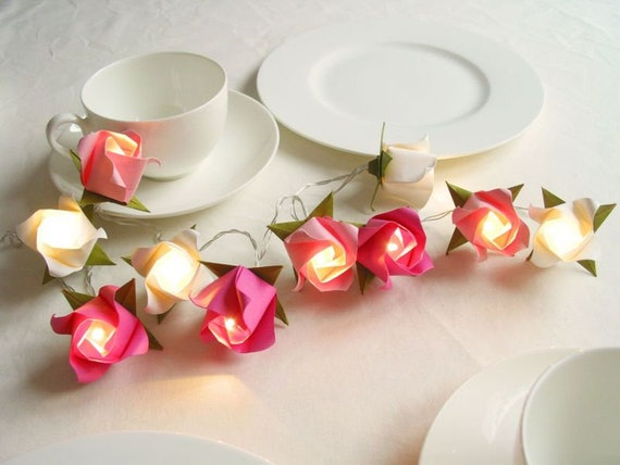 Lichterkette Rosen Hochzeitsdeko Tischdeko Girlande Home Etsy