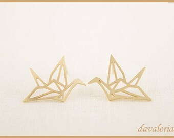 db424470a Origami crane stud earrings gold plated