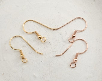 1 Pair of ear hooks 925-silver 22 mm with ball 3 mm choice rose gold or gold