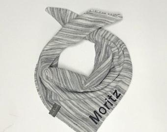 "Sweattuch with name, scarf, baby scarf ""grey striped"" unit size, boy"