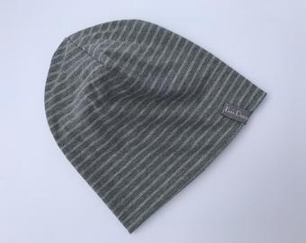 "Wendebeanie ""dark grey striped"" all sizes-beanie, baby hats, Babybeanie, beanie young girl"