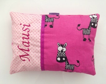 """Name pillow baby girl """"zebra pink"""" pillow pink, pillow with name, cuddle pillow, gift to give birth"""
