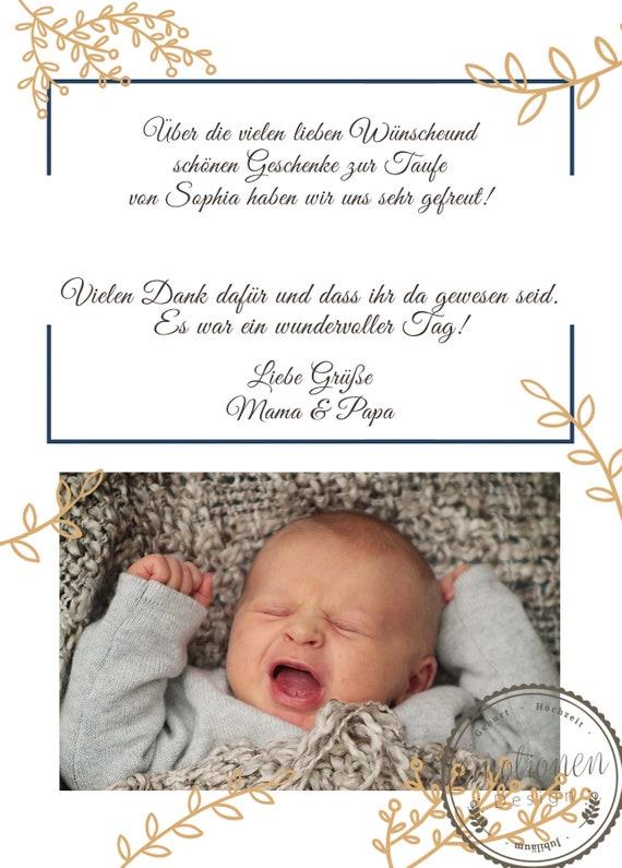 Ab 25 Dankeskarte Zur Taufe Geburt Baby Foto Karte Ankündigung Zur Taufe Geburt Taufe Geburt Karte Geburtsankündigung Gold Emma Dina6