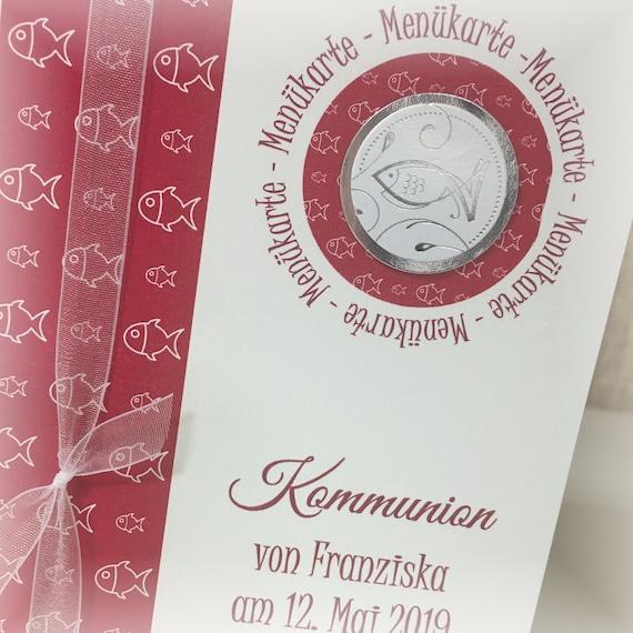 Menü Menükarte Speisekarte Kommunion Konfirmation Taufe Firmung Fisch Silber Dunkelrot Weinrot Bordeaux