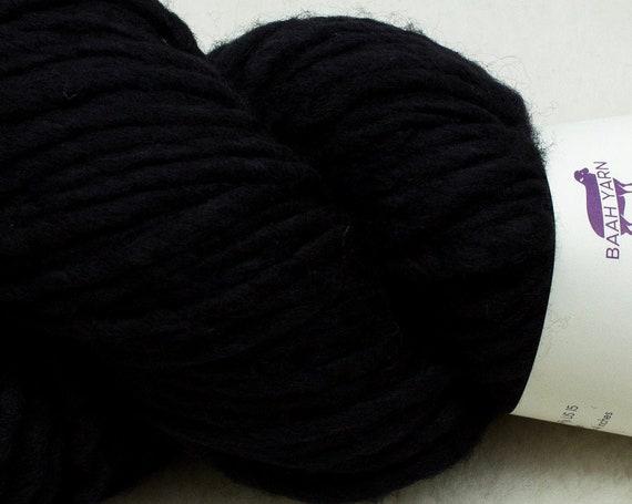 Baah Yarn Sequoia - Black Pearl - Super Bulky - 100% Superwash Merino Wool - 85 yards - 125 grams - Artisanal Hand Dyed