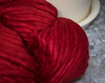 Malabrigo - Rasta - Ravelry Red - Super Bulky Yarn, Thick Yarn, Quick Knit, Textured Stitches, Hand Dyed Yarn, Mulesing Free