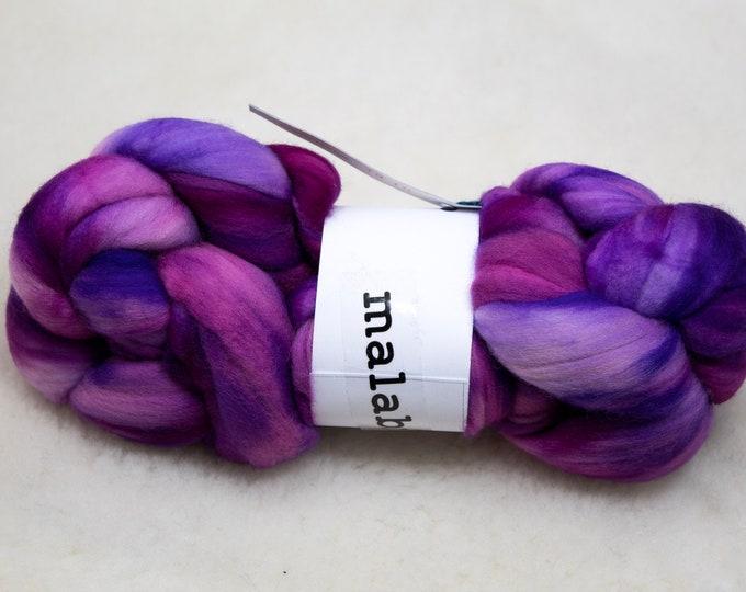 Featured listing image: Merino Wool Roving, Comber Top, Spinning, Felting, Weaving, Hand Dyed, Jumbo Knitting, Malabrigo Nube - Baya Electrica