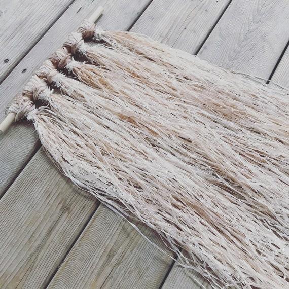 Macrame Driftwood Wall Hanging - Linen Paper - Hand dyed
