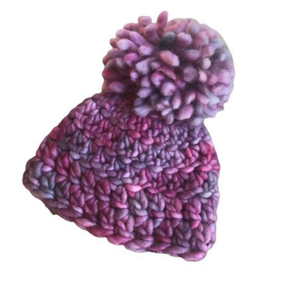 Custom Handmade Crochet Pom Pom Hat - 100% Malabrigo Rasta Merino Wool - Newborn